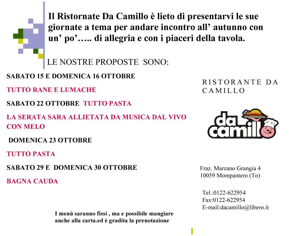 Da Camillo serate a tema Da Camillo
